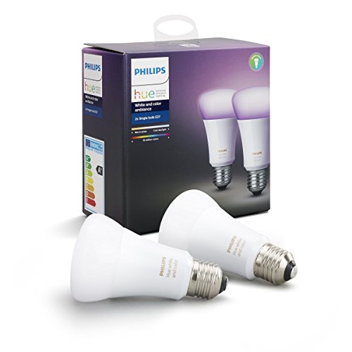 Philips Hue White and Color Ambiance - Pack de 2 bombillas LED E27, 60 W, iluminación inteligente, cambian de color, compatible con Apple Home Kit y Google Home