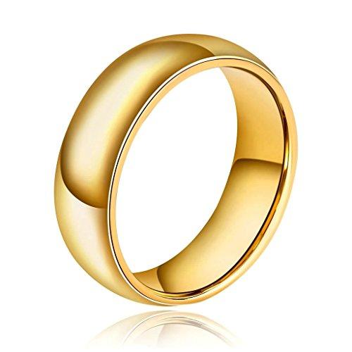Adiaser Edelstahl Herren Ring Hohe Poliert Einfach Design Ring für Herren Gold Breite 8MM Ringe Größe 54 (17.2) Trauung Band (Kostüm Assassine Design)