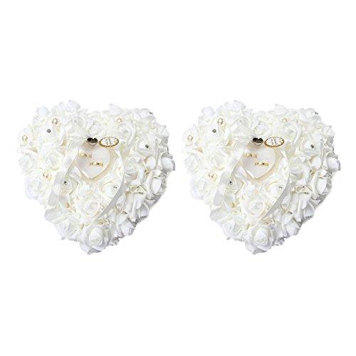 Yosoo 15x13cm Romantic Rose Hochzeit Ringkissen Ring Box Herz Bevorzugungen Ehering Kissen mit eleganter Satin Flora (2 Stück) (Zwei Herzen Hochzeit Ring Kissen)