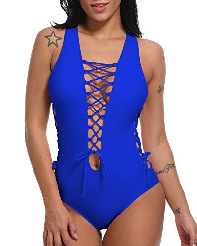 Temptme Apparel Damen Einteiler Badeanzug Sexy Spitze tiefer V-Ausschnitt Monokini Badeanzug Badeanzug Bademode - Blau - Medium (38-40) (Flitterwochen Klassisch 39)