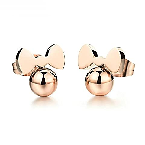 Onefeart Acier Inoxydable Perçant goujons boucles d'oreilles pour Dames Or Rose Ball Squisito Bow Tie Bijoux
