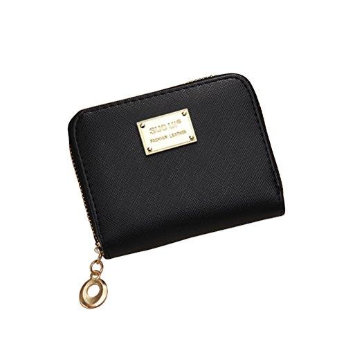 Brieftasche Frauen Kleine Brieftasche (Tinksky Klein Portemonnaie mit Reißverschluss Damen Kleine Geldbeutel PU Leder Brieftasche für Frauen Mädchen (Schwarz))