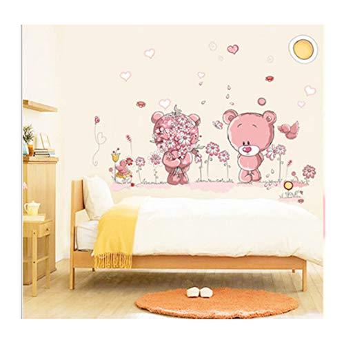 Nette rosa bär wandaufkleber für kinderzimmer wohnkultur kindergarten wandtattoo kinder poster baby haus wandbild diy