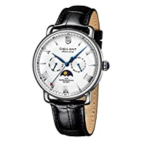 Mens Wrist Watch, Analog Quartz Watches Men's Wristwatch Leather Strap Moon Phrase Day Date Calendar 5ATM Waterproof Watches for Men Classic Casual Business Fashion