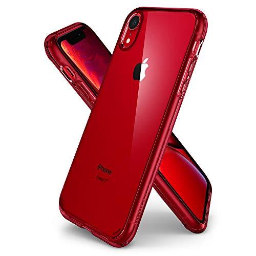 Spigen Ultra Hybrid, Kompatibel mit iPhone XR Hülle, 064CS25346 Einteilige Transparent PC Rückschale Handyhülle Schutzhülle Case (Rot) Hybrid Case Rot