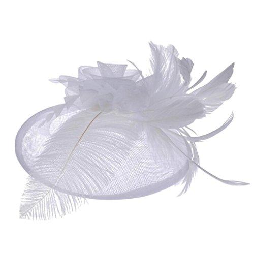 (Frauen Hut,Frashing Frauen Fascinator Maschendraht Band und Feder Hochzeitsfest Hut Mesh Brautschmuck Hanf Hut (Weiß))