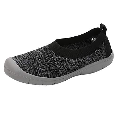 Bootschuhe Wanderschuhe Damen Halbschuhe Slip-On Pumps Fashion Walkingschuhe Sneakers Casual Sportschuhe Flexible Socken Schuhe, Schwarz
