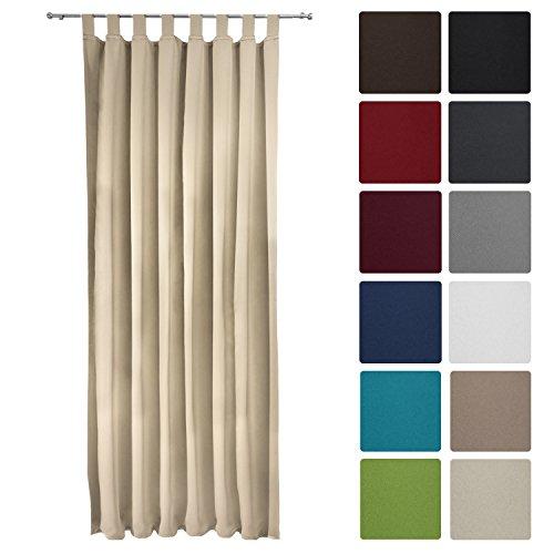 Preisvergleich Produktbild Beautissu Blackout-Vorhang Amelie mit Schlaufen - 140x245 Creme (Beige) - Verdunklungsgardine Schlaufenschal Blickdicht