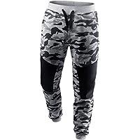 Pantalones de Camuflaje Para Hombre,LILICAT® Pantalones Deportivos de Patchwork de Primavera (XXL, Gris)