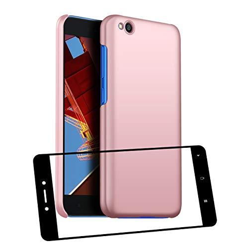 UCMDA Funda Xiaomi Redmi Go con Protector de Pantalla, Carcasa Duro Redmi Go con Cristal Templado - Rosa