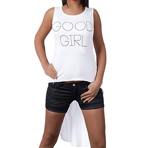 H915 Damen Longshirt Shirt Tunika Bluse T-Shirt Tank Top Minikleid Ärmellos Weiß