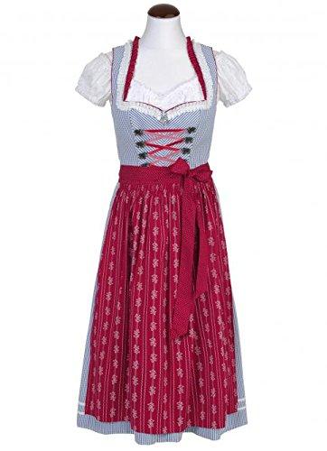 Spieth & Wensky - Damen Trachten Dirndl, Esmira-Dirndl mittel (270572-0623) Blau/Rot (4885)