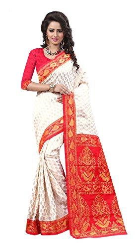 Rajgharana Saree House Silk Saree (Durga Puja Special 4_White)