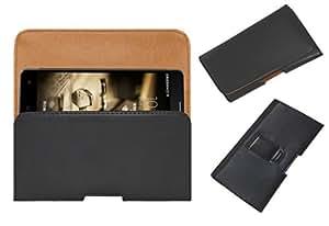 Acm Belt Holster Leather Case For Adcom A-Note Mobile Cover Holder Clip Magnetic Closure Black