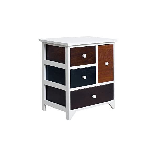 Rebecca Mobili Bathroom Storage Unit, Chest of Drawers 4 Drawers, Paulownia Wood Mdf, Brown White, Vintage Retro Kitchen – Dimensions: 52 x 47 x 33 cm (HxWxD) - Art. RE4338 Rebecca Mobili Stylish forniture with white wooden shelf and 4 brown drawers. Really suitable and easily adaptable to your entrance, living room, bedroom and also perfect your kitchen. Urban style, new design, really original. Add a touch of color to your home with the cabinet of REBECCA ATLANTIC line Size: H 52 cm X L 47 cm X W 33 cm Size: 1 drawer H 26,5 cm x W 15,5 cm x D 28 cm - 1 drawer H 12,5 cm x W 40,5 cm x D 28,5 cm - 2 drawers H 12,5 cm x W 23 cm x D 28,5 cm 3