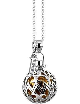Nenalina Silber Halskette mit Engelsflüsterer Anhänger inkl. Klangkugel und Buchstaben Charm Anhänger | Damen...