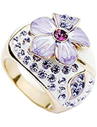 Dulce Colorido Elegante Aleación Rhinestone Cristal Con Incrustaciones De En Forma De Flor Regalo Anillo De La Mujer