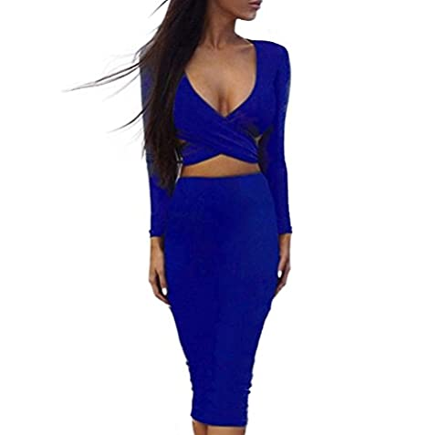 5 ALL Damen Abendkleid Sommer V-Ausschnitt Langarm Stretchkleider Hohle heraus Brust Clubwear Verein Minikleid Partykleid Cocktailkleid Festkleid Blue M