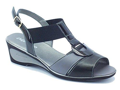 Sandali Melluso in vernice nera e pelle grigia-nero (Taglia 41)