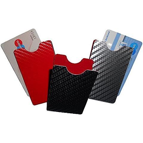 Caso de la tarjeta de crêdito - 2 piezas - vertical disegno de carbono negro aluminio RFID/NFC