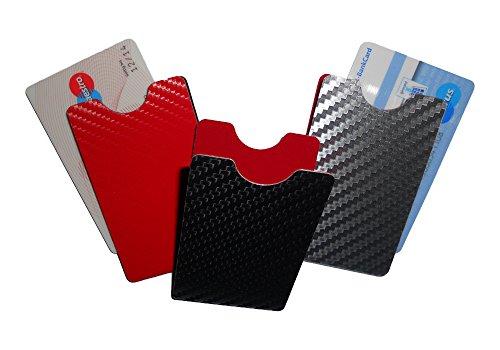 Schutzhülle für EC Karten Ausweis Führerschein Gesundheitskarten etc. Aluminium RFID/NFC Datenklauschutz - Carbondesign rot - hochkant