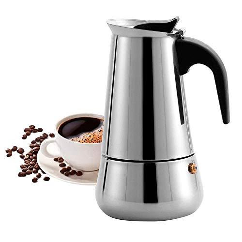 MAJALiS Espressokocher Induktion Geeignet,Espressokanne Edelstahl für Haus und Büro für Gas, Elektro-Herd, Ceran-Feld und Induktion Herd(Nicht Magnetisch),Moka-Kanne 300ml