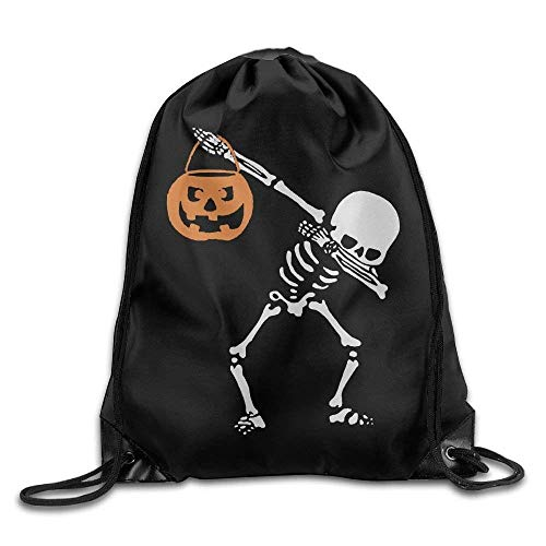 (Dabbing Skeleton Novelty Portable Drawstring Backpack Bag Lightweight School Backpack for Men and Women)