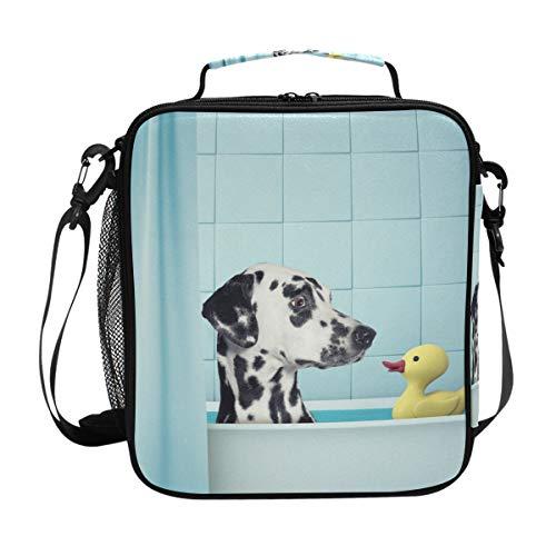 Orediy Isolierter Kühl-Bento-Lunchtasche, Dalmatiner-Ente in der Badewanne, wiederverwendbar, Canvas, für Reisen, Picknick, Schule, Büro