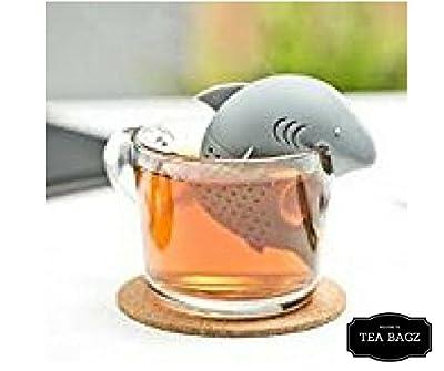 TEA-BAGZ/ Lot de 2 Infuseur de Thé en forme de Requin /En forme de Squale des Mers / Idéal pour une infusion Bio/Tisane/Thé vert,/ Thé noir/ Accessoires home et cuisine/ Diffuseur à Thé Original/ Diffuseur à Thé de Haute Qualité / Diffuseur de thé 100% si
