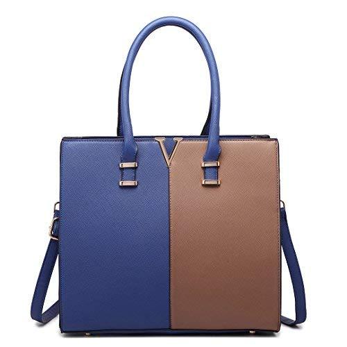 Faux Leder Medium Tote Tasche (Miss Lulu Damen Schultertasche M, Mehrfarbig - 1666 Navy&Brown - Größe: M)