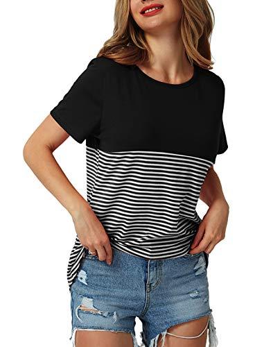 Yidarton Damen Tops Sommer Buntes Gestreiftes Loose Kurzarm V-Ausschnitt Shirt Hemd Bluse T-Shirt (XL, Y-Schwarz)