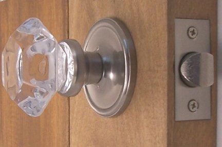 Perfekte Reproduktion Türknauf Sechs-Punkt Prinzessin Old Town Kristall innen Passage Set mit gebürstetem Nickel Nachrüstung Rosetten.