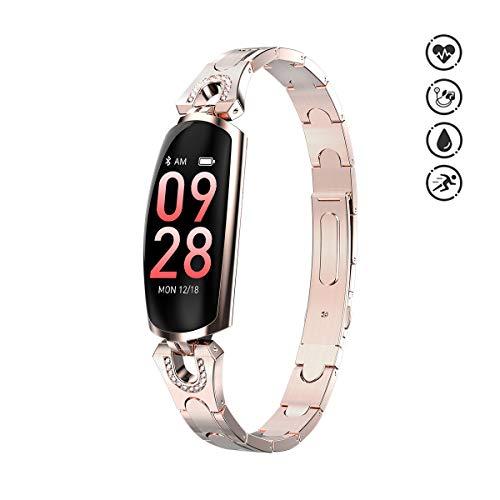 Chendeg Fitness Tracker Donna Intelligente Braccialetto IP67 Impermeabile Activity Tracker Orologio Intelligente Donne Bambini Smart Wristband Cuore Sonno Monitor Regalo,Gold