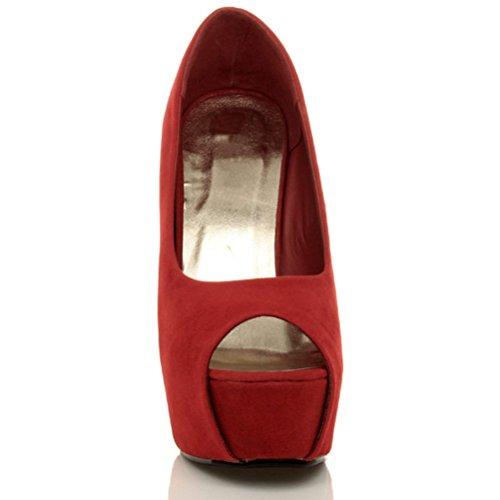 Damen Plateausohle Pumps Stöckelschuhe Peep Toe Party Arbeit Schuhe Größe Rot Wildleder