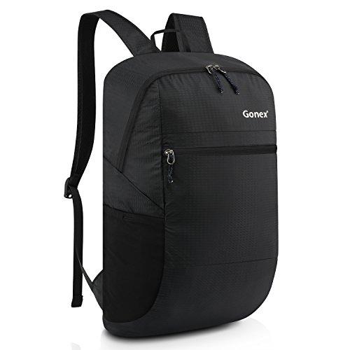 Gonex 30L Leichter Tagesrucksack, Unisex Faltbarer Rucksack für Outdoor Wandern Reisen (schwarz) - Nylon-leichter Rucksack