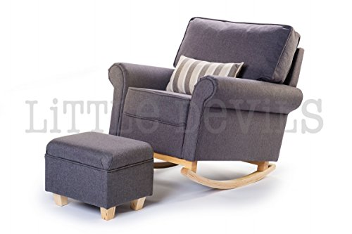 The New Hush Hush Rocking/Nursing/Glider Chair - Converts into Stunning Armchair Too! The Ideal Gliding Chair for Maternity or Just Relaxing in the Conservatory (Grey Upholstery)