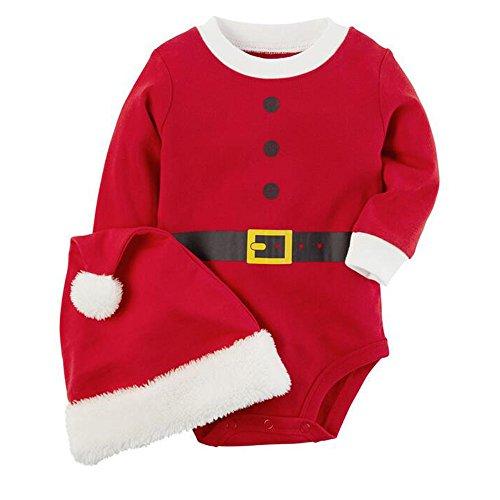Santa Qualitäts Kostüme (BOZEVON Baby Weihnachten Kleinkind Lange Ärmel / Kurze Ärmel Fancy Party Kleid Kostüm Tutu Outfit Santa Neujahr Outfits Jungen & Mädchen Kinder Weihnachtsmütze übersatz Jumpsuit Set ,)