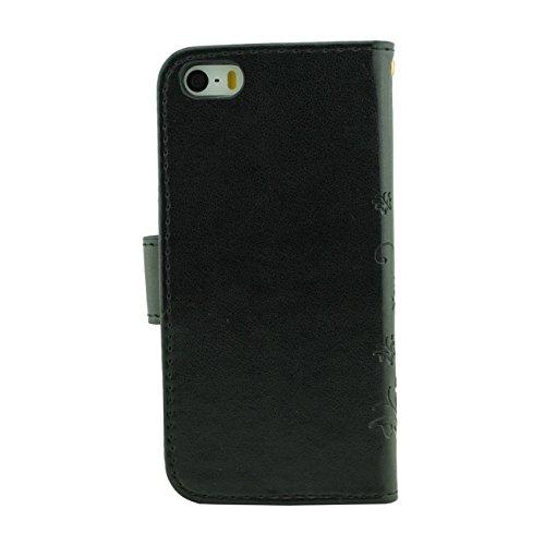 Apple iPhone SE Coque de Protection Gris, Rabat Portefeuille Doux PU Beau Fleur Motif Housse de Protection Case pour iPhone 5 5S 5G avec 1 stylet noir