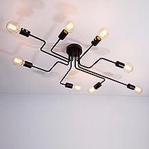 American vintage estilo minimalista moderno salón dormitorio comedor tiendas candelabros lámparas de techo 8 negro (con G80 Edison bombillas incandescentes)