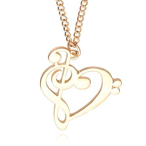 Cosanter nuevo amor dorado notas collar moda hueca símbolos musicales