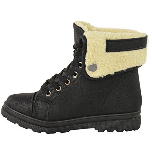 Donna Pelo Suela Antideslizante Con Botines Bajos Botines De Invierno Tamaño Nuevo Black Faux Leather