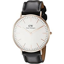 Daniel Wellington Men's Quartz Watch Classic Sheffield Rose with Black Leather Strap 0107DW