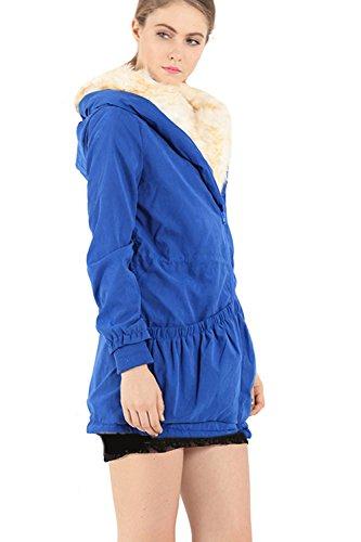 Manteau d'hiver chaud femmes épaissir Sweats à capuche veste Parka blue