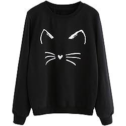 Minetom Mujer Gato de Manga Larga Sudadera con Capucha Blusa Tops Jersey A Negro 1 ES 40