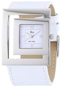GO Girl Only - 696584 - Montre Femme - Quartz Analogique - Cadran Blanc - Bracelet Cuir Blanc