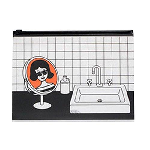 Demarkt 1 Pcs Trousse de Maquillage Pencil Case Cartoon miroir Motif Sac à Stylos PVC imperméable Zip à main Sac de Rangement Organisateur Multifonctionnel pour Porte-monnaie Beauté Voyage Cosmétiques Sac Transparent 23*17cm Orange Demarkt