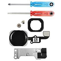 MMOBIEL Home Button kompatibel mit iPhone 6S / 6S Plus (Schwarz) Homebutton mit flexkabel Taste inkl. Halterung und Schraubenzieher