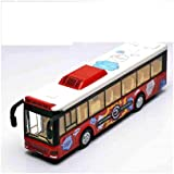 SRR- Die Cast Metal Body Door Opening Luxury Happy Shopping Toy Bus With LED Light And Sound For Kids.