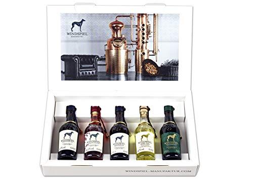 Windspiel Mini Premium Spirituosen Set - Das perfekte Geschenk für Ihn und das perfekte Geschenk für Sie