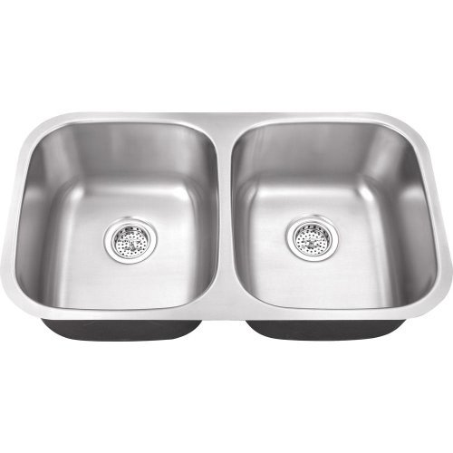 Belle Foret BFM208 Undermount 0-Hole Double Bowl Kitchen Sink, 32-1/4-Inch x 18-1/2-Inch x 9 -Inch, Stainless Steel by Belle Foret -